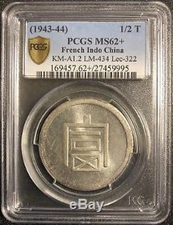 1943-1944 French Indo China 1/2 Tael, KM-A1.2 L&M-434 Lec-322 PCGS MS62+