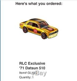2020 Hot Wheels RLC Exclusive'71 Datsun 510 Red Line Club ORDER CONFIRMED