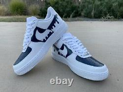 Custom Nike Air Force 1 Drip Inverse Any Size Made For Order Navy White