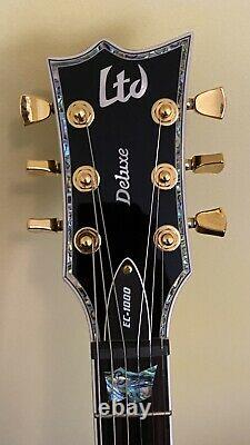 ESP LTD Deluxe EC-1000 Electric Guitar Black With Gold Hardware+Abalone+EMG 81/60s