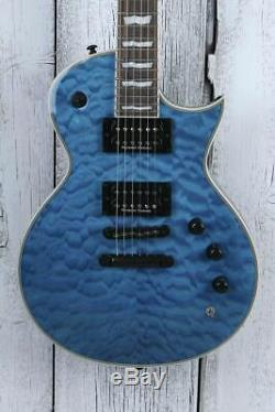 ESP LTD EC-1000QM Piezo Electric Guitar with Duncan HH and Piezo See Thru Blue