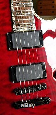 ESP LTD EC-1000 Deluxe MINT Cond See-Thru Black Cherry with SKB hard-side case