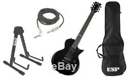 ESP LTD Ec-10 Basswood Body 6 String Black Guitar Bag Stand Cable Package New