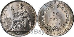 FRENCH INDO-CHINA 1928-A Cu-Ni Pattern 20 Cents PCGS SP67 cf. KM-17.1 cf. Lec-227