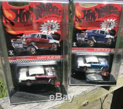 Hot wheels Red Line Club 2016 Two 55 Chevy Bel Air Gasser's Red &Blue Beautiful