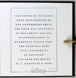 Limited Editions Club 1984 Ficciones Jorge Luis Borges Signed by Sol Lewitt