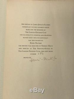 Limited Editions Club Henri Matisse James Joyce Ulysses SIGNED 1935 Slipcase LEC