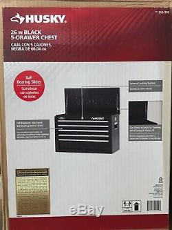 NEW! Husky 26 in Black 5-Drawer Tool Chest Box Storage Top Chests Garage Cabinet