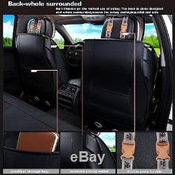 PU Leather Deluxe Edition Car Seat Cover Cushion 5-Seats Front+Rear with Pillows