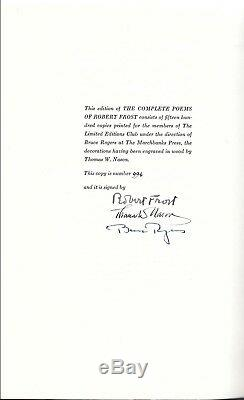 SIGNED THE COMPLETE POEMS of ROBERT FROST THE LIMITED EDITIONS CLUB #994