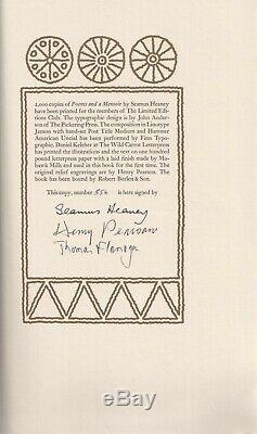 Seamus Heaney Poems and a Memoir Signed Limited Editions Club 1982