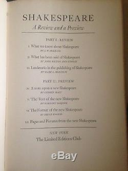 Shakespeare Reviews/Previews and Plays (1940, Limited Editions Club)