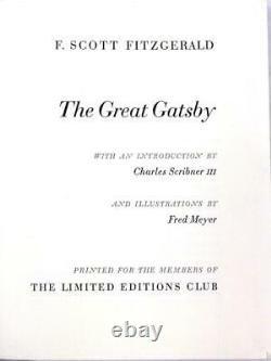The Great Gatsby by F. Scott Fitzgerald Limited Editions Club