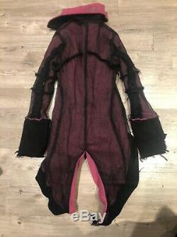 VICIOUS Pink & Black Fleece Mesh Duffle Tail Coat Cyber Goth Club 90s RARE S