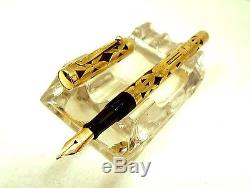 Vintage WATERMAN Fountain Pen #0552 1/2 LEC 1920's BAMBOO Gold Overlay ExC