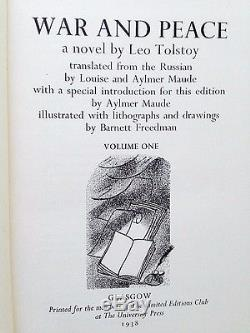 War and Peace by Leo Tolstoy Limited Editions Club 1938 6 Vol. #128 Illus Signed